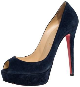 Christian Louboutin Blue Suede Lady Peep Toe Platform Pumps Size 37.5