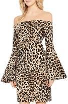 Vince Camuto Leopard Print Off-the-Shoulder Bell Sleeve Dress