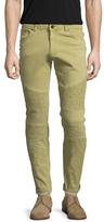 Tonal Ribbed Skinny Washed Moto Jeans