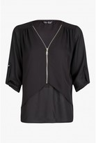 Select Fashion Fashion Womens Black Double Layer Zip Blouse - size 10