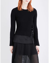 Izzue Tie-side ribbed-knit layered top