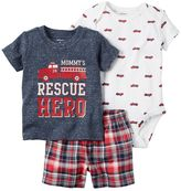 Carter's Baby Boy Print Bodysuit, Graphic Tee & Plaid Shorts Set