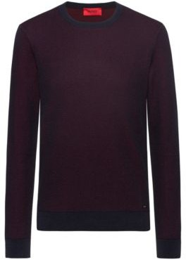 HUGO BOSS Regular Fit Sweater With Two Tone Structure - Dark Blue