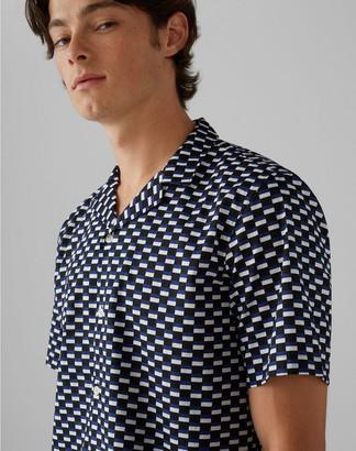 Club Monaco Notched Collar Geo-Print Shirt