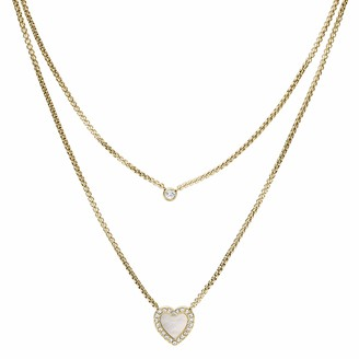 Fossil Women's Heart Duo Gold-Tone Stainless Steel Necklace Gold Tone