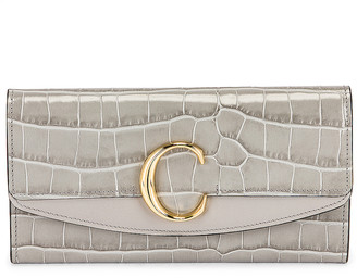 Chloé C Embossed Croc Clutch in Stormy Grey | FWRD