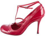 Alexander McQueen Leather-Patent Leather Round-Toe Pumps