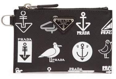 Prada Nautical Print Leather Wallet And Cardholder Set - Mens - Black