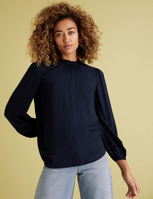 Marks and Spencer Textured Frill Neck Long Sleeve Blouse