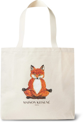 MAISON KITSUNÉ Logo-Print Cotton-Canvas Tote Bag