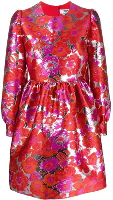 MSGM floral jacquard flared dress