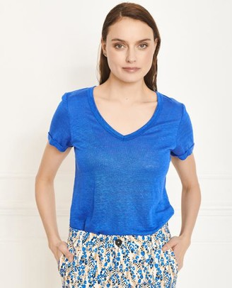 MKT Studio Touga Blue Linen T Shirt - Small