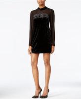 BCBGeneration Velvet Mock-Neck Shift Dress