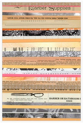 Jonathan Bass Studio Paper Strip Collage B, Decorative Framed Hand Embe