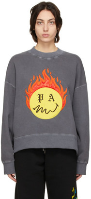 Palm Angels Grey Smiley Edition Burning Head Sweatshirt