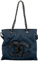 One Kings Lane Vintage Chanel Coated Denim Shopper - Vintage Lux - blue/silver
