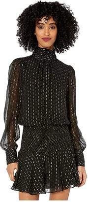 ML Monique Lhuillier Long Sleeve Dress with Smocked Waist (Jet Multi) Women's Clothing