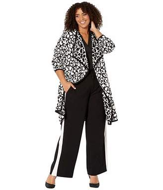 Vince Camuto Specialty Size Plus Size Long Sleeve Cheetah Open Front Maxi Cardigan (Rich Black) Women's Sweater