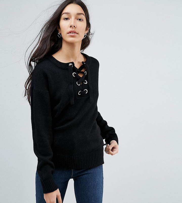 Brave Soul Tall Agatha Lace Up Sweater
