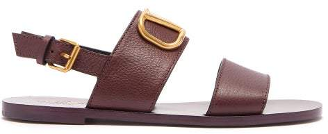 Valentino V Logo Double Strap Leather Sandals - Womens - Burgundy