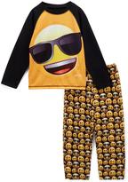 Yellow & Black Sunglass Emoji Pajama Set - Toddler & Boys