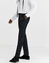 Twisted Tailor super skinny suit pants with polka dot gold flock in black