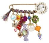 Betsey Johnson Safety Pin Faux Pearl & Multiple-Charm Brooch