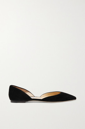 Jimmy Choo Esther Suede Point-toe Flats - Black