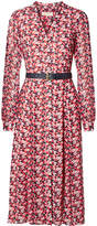MICHAEL Michael Kors Belted Floral-print Crepe Midi Dress - Red