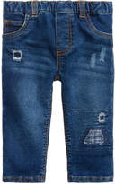 First Impressions Distressed Plaid-Patches Pull-On Jeans, Baby Boys (0-24 months), Created for Macy's