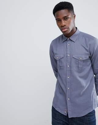 Benetton Linen Mix Shirt In Denim Blue