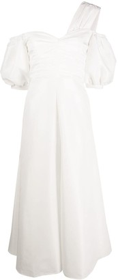 Self-Portrait Puff-Sleeve Asymmetric Dress