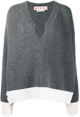 Marni distressed V-neck jumper