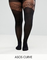 Asos Halloween Mock Over The Knee Cobweb Tights
