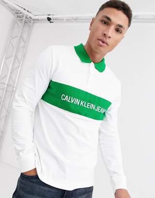 Calvin Klein Jeans Calvin Klein contrast collar long sleeve polo shirt-White