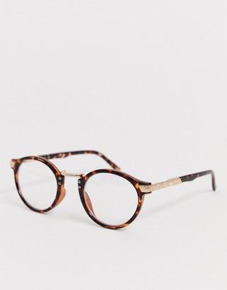 clear ASOS DESIGN vintage round lens glasses in tort