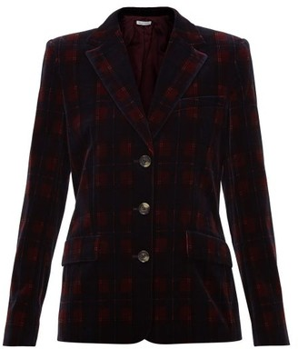 Bella Freud Single-breasted Tartan Cotton-velvet Jacket - Burgundy