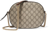 Gucci Linea A Disco Leather-trimmed Coated-canvas Shoulder Bag - Beige