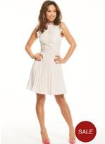 Myleene Klass Pleated Lace Panel Tea Dress - Blush