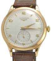 Longines 6055 18K Rose Gold / Leather Vintage 35mm Mens Watch