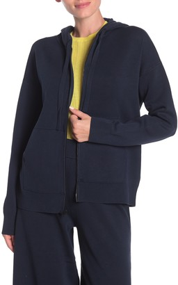 Vince Solid Zip Front Knit Hoodie