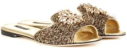 Dolce & Gabbana Exclusive to mytheresa.com – embellished metallic slippers
