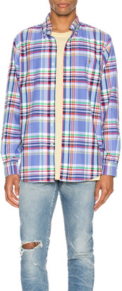 Polo Ralph Lauren Oxford Long Sleeve Shirt in 4346 Blue & Red Multi | FWRD