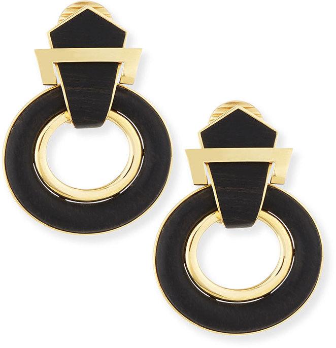 David Webb 18k Gold Ebony Buckle Earrings