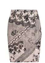 Quiz Nude And Black Flock Print Mesh Midi Skirt