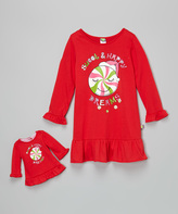 Dollie & Me Red 'Happy Dreams' Nightgown & Doll Outfit - Girls