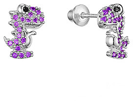 Lovearing Girls' Earrings White - Cubic Zirconia & Sterling Silver Dinosaur Stud Earrings - Girls