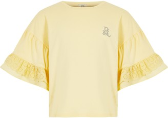 River Island Girls Yellow broderie frill sleeve t-shirt