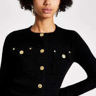 River Island Black button front knitted cardigan