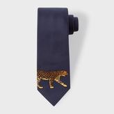 Paul Smith Men's Navy Leopard Tip Narrow Silk Tie